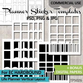 Planner Stickers Templates Bundle Vol. 9 / Erin Condren Hardbound Life Planner