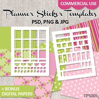 Planner Stickers Templates and Shabby Chic Digital Papers Pink Green / No. 5