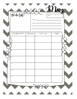 Planner Template for Teachers MAY