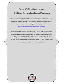 Planner Weekley Editable Template Mint