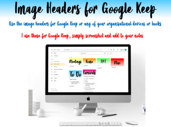 Planner and Portfolio Headings - Google Keep (Digital and Non Digital)