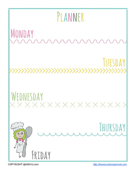 Planner for After School for Homework and Activities