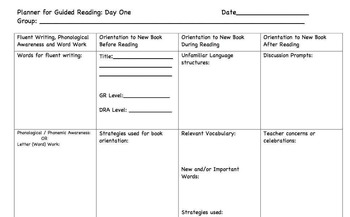 Planner for Guided Reading Day 1 (Page 1)