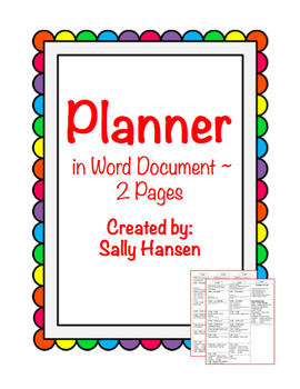 Editable Planner in Word Document FREEBIE!