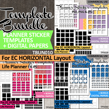 Planner sticker templates Bundle Vol. 10 / EC Horizontal Layout