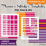 Planner sticker templates DIY Kit, heart love theme / No. 16