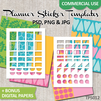 Planner stickers Templates ECLP / No. 12 / decorative full box, half box
