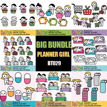 Planner stickers clip art Bundle Vol. 7 (grocery shop, save piggy bank, cupcake)