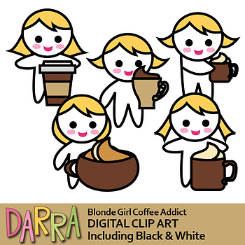 Planner stickers clip art (coffee girl clipart)
