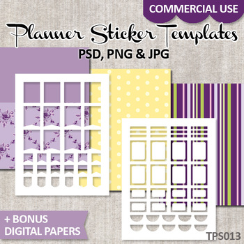 Planner stickers template commercial use, DIY Kit ECLP / No. 13