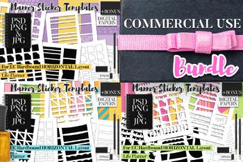 Planner stickers templates Bundle Vol. 11 - EC Hardbound Horizontal