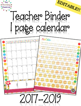 Teacher Planner 2017 2018 2019 - One Page Calendar (Watercolor Theme)