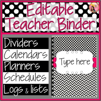 Editable Teacher Binder 2017-2018 (black and white) planner - Updated each Year