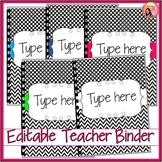 Editable Teacher Planner 2019-2020 (black and white) binder - Updated each Year