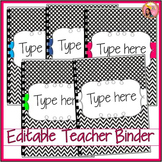Editable Teacher Binder 2017-2018 (black and white) planne