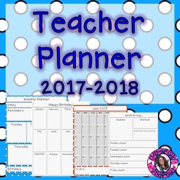 Teacher Planner 2017-2018 Polka Dot {Free for life updates}