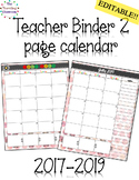Teacher Lesson Planner 2017 - 2018 - 2019 Editable Watercolor Theme