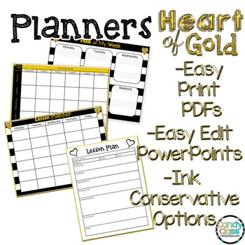 Editable Planners - Heart of Gold Theme