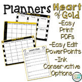 Editable Planners: Black and Gold Back to School Organization