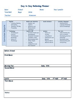 Planners for the New Zealand Relief Teacher