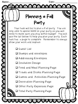Planning A Fall Party- Math Project