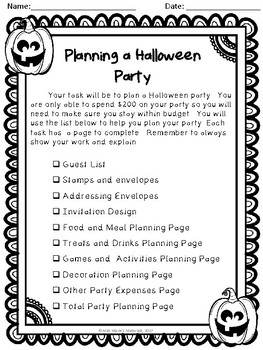 Planning A Halloween Party (Math Project)