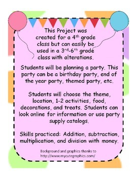 Planning A Party Project Operations with Money and Decimals