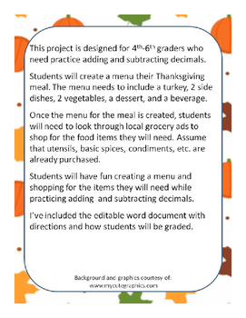 Planning A Thanksgiving Meal (Adding and Subtracting Decimals)