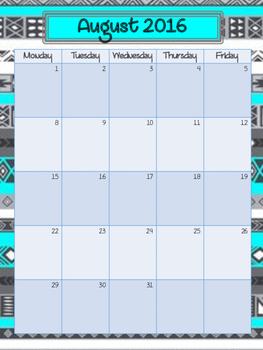 Planning Calendar 2016-2017