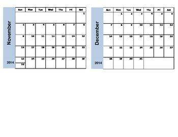 Planning Calendar July 2014 - June 2015