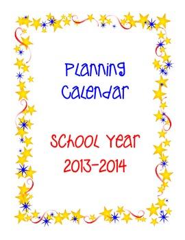 Planning Calendar School Year 2013-14