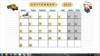Planning Calendar School Year 2014-2015 (US version)