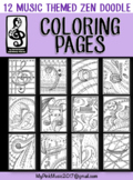 MUSIC Symbol Coloring pages (Zen Doodle Design) : Any clas