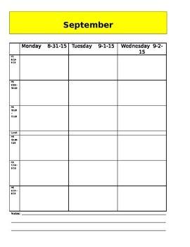 Planning Calendar for Teacher binder