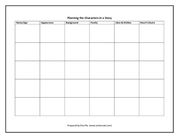 Planning Characters Chart (in black & white)