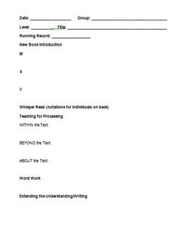 Planning Form for Guided Reading (Primary Grades)