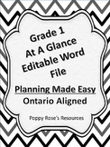 Planning Made Easy Grade 1 At a Glance Ontario Editable Word File