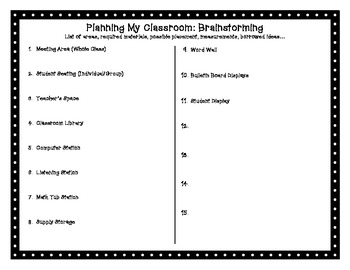 Planning My Classroom