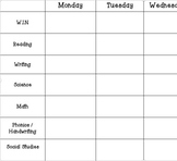 Planning Overview (Week at a glance)