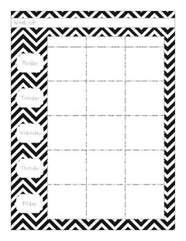 Planning Pages - Black & White Chevron
