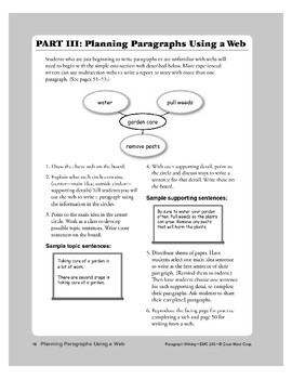 Planning Paragraphs Using a Web (Teacher Information)