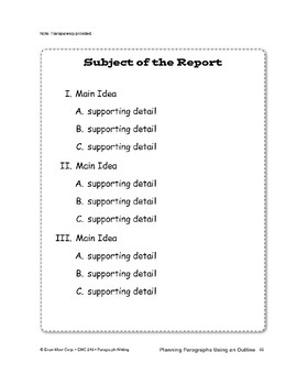 Planning Paragraphs Using an Outline