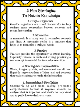 Planning Poster - 5 Fun Ways to Retain Knowledge