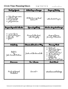 Planning Sheet for Circle Time, Morning Time, Table Time, Etc.