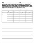 Planning Sheet for Creating Descriptive Sentences