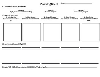 Planning Sheet for Writing