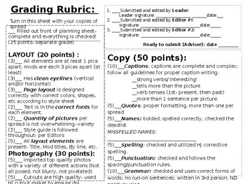 Planning Sheet with Rubric