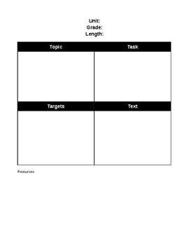 Planning Template using the 4 T's *editable*