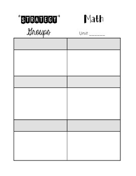 Planning Tool for Strategy/Small Group instruction