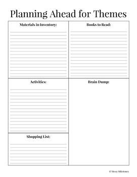 Planning Worksheet for Themes